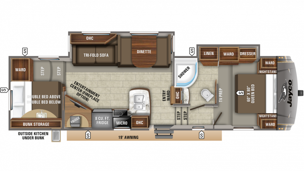 2020 Eagle HT 29.5BHDS Floor Plan Img