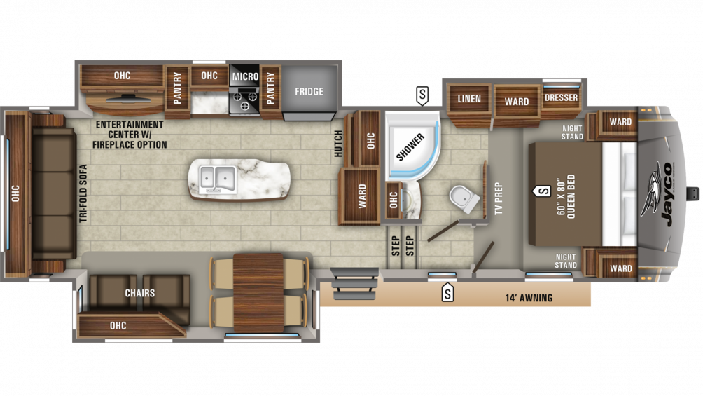 2020 Eagle HT 30.5CKTS Floor Plan Img