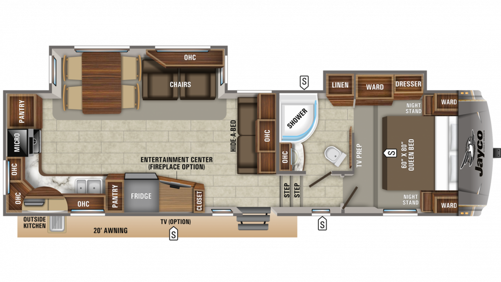 2020 Eagle HT 30.5MLOK Floor Plan Img