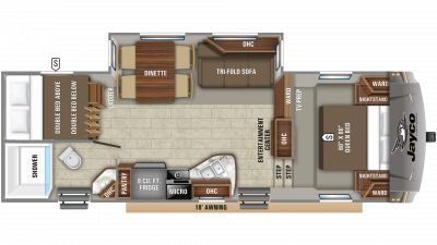 2020 Eagle HTX 26BHX Floor Plan Img
