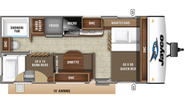 2020 Jay Feather 20BH Floor Plan