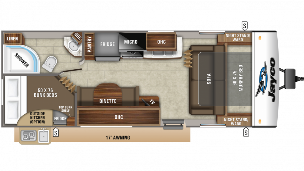 2020 Jay Feather 23BHM Floor Plan Img