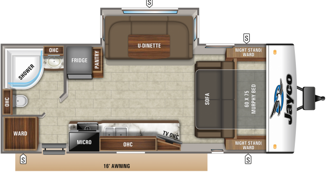 2020 Jay Feather 23RBM Floor Plan