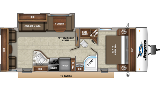 2020 Jay Feather 27RL Floor Plan