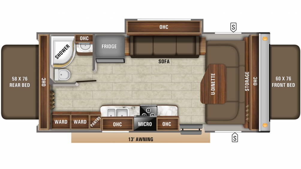 2020 Jay Feather X23B Floor Plan Img