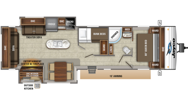 2020 Jay Flight 34MBDS Floor Plan