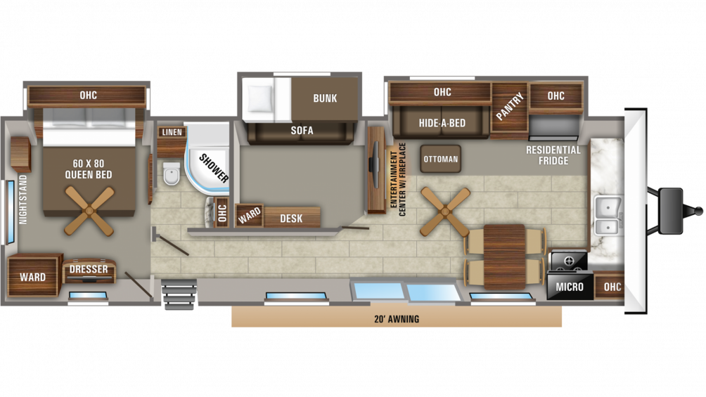 2020 Jay Flight Bungalow 40BHTS Floor Plan Img