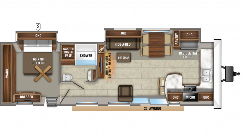 2020 Jay Flight Bungalow 40FKDS Floor Plan Img