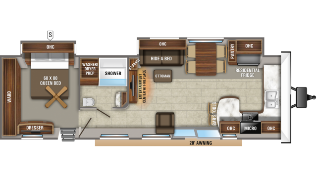 2020 Jay Flight Bungalow 40FKDS Floor Plan