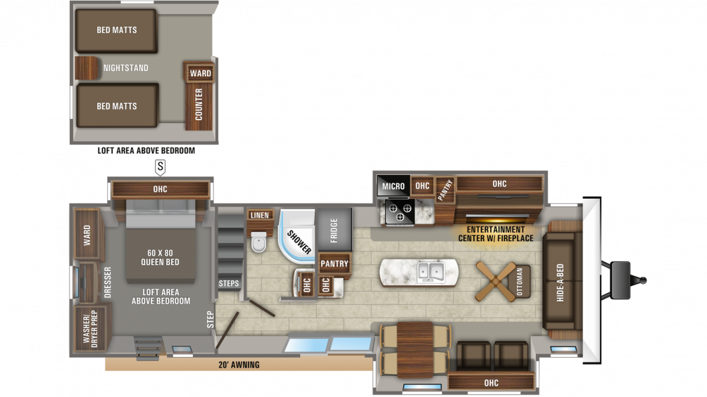 2020 Jay Flight Bungalow 40LOFT Floor Plan Img