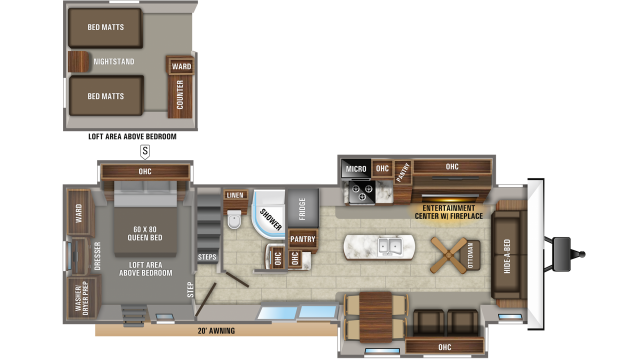 2020 Jay Flight Bungalow 40LOFT Floor Plan