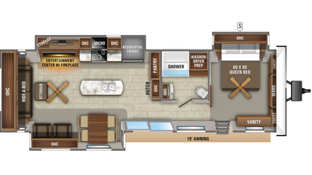 2020 Jay Flight Bungalow 40RLTS Floor Plan