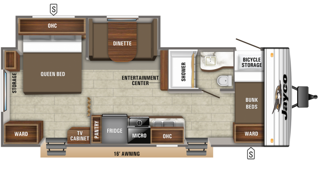 2020 Jay Flight SLX 244BHS Floor Plan