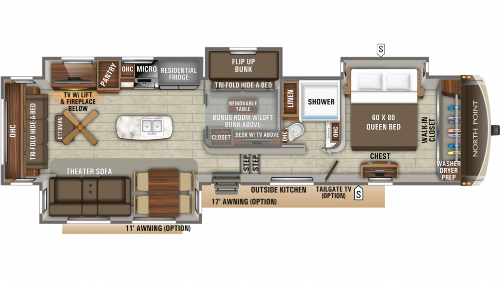 Jayco North Point 377rlbh 5th Wheel Floor Plan
