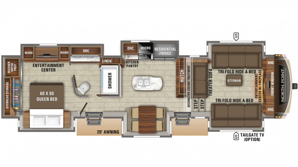 2020 North Point 381FLWS Floor Plan Img