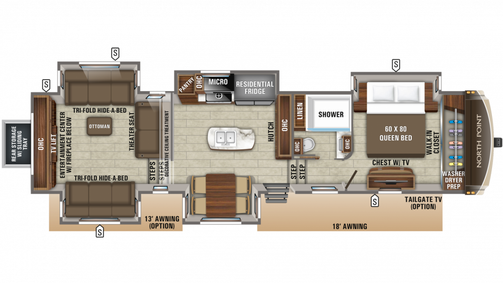 2020 North Point 387RDFS Floor Plan Img