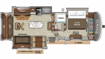 2020 Pinnacle 32RLTS Floor Plan Img