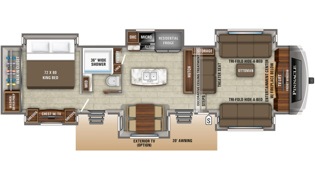 2020 Pinnacle 38FLWS Floor Plan