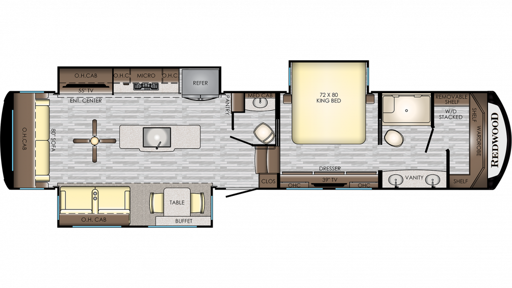 2020 Redwood 3901MB Floor Plan Img