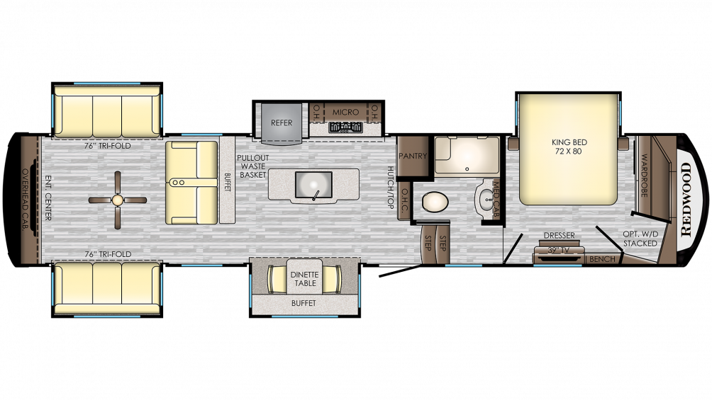 2020 Redwood 399RD Floor Plan Img