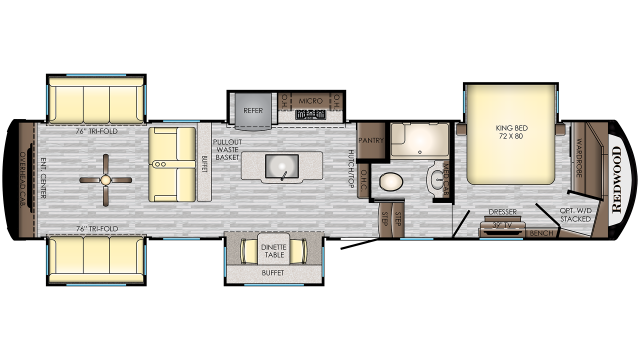 2020 Redwood 399RD Floor Plan