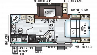 2020 Rockwood Mini Lite 2507S Floor Plan Img
