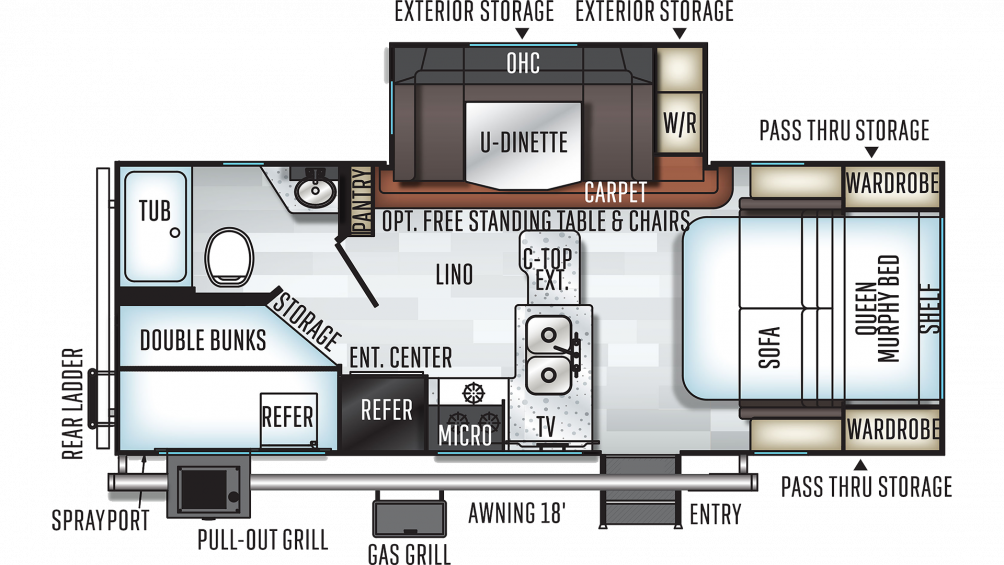 2020 Rockwood Mini Lite 2509S Floor Plan Img