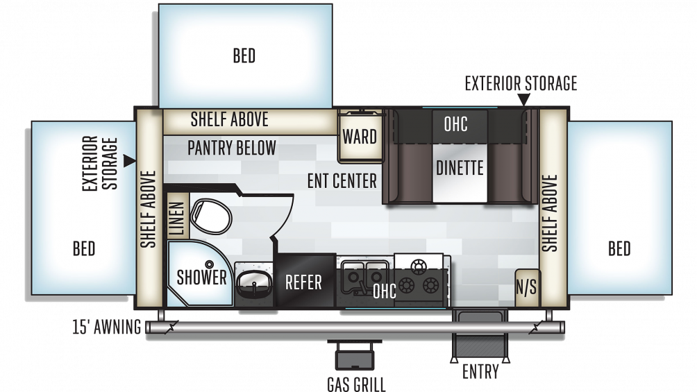 2020 Rockwood Roo 183 Floor Plan Img