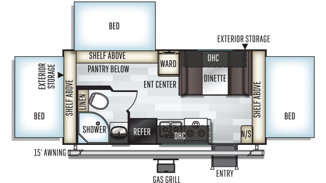 2020 Rockwood Roo 183 Floor Plan