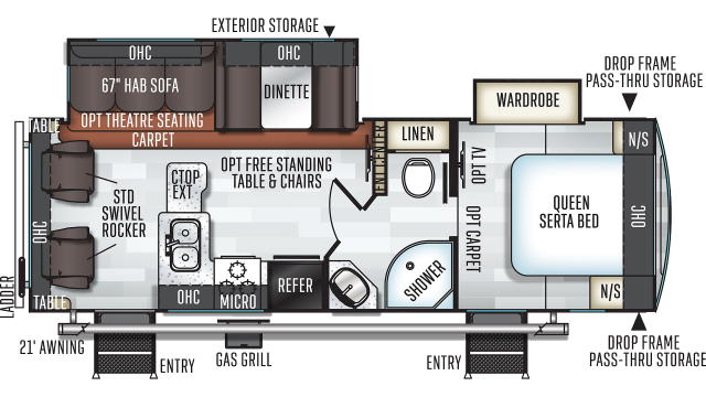 2020 Rockwood Ultra Lite 2604WS Floor Plan