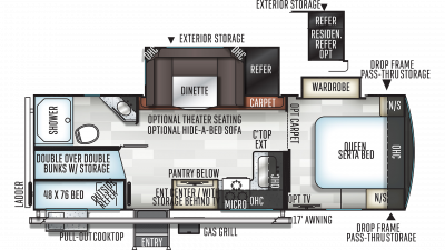 2020 Rockwood Ultra Lite 2609WS Floor Plan Img