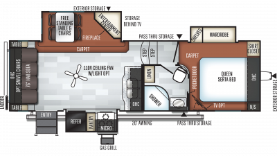 2020 Rockwood Ultra Lite 2620WS Floor Plan Img