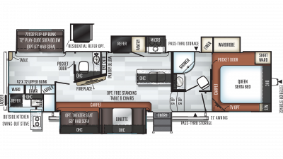 2020 Rockwood Ultra Lite 2892RB Floor Plan Img