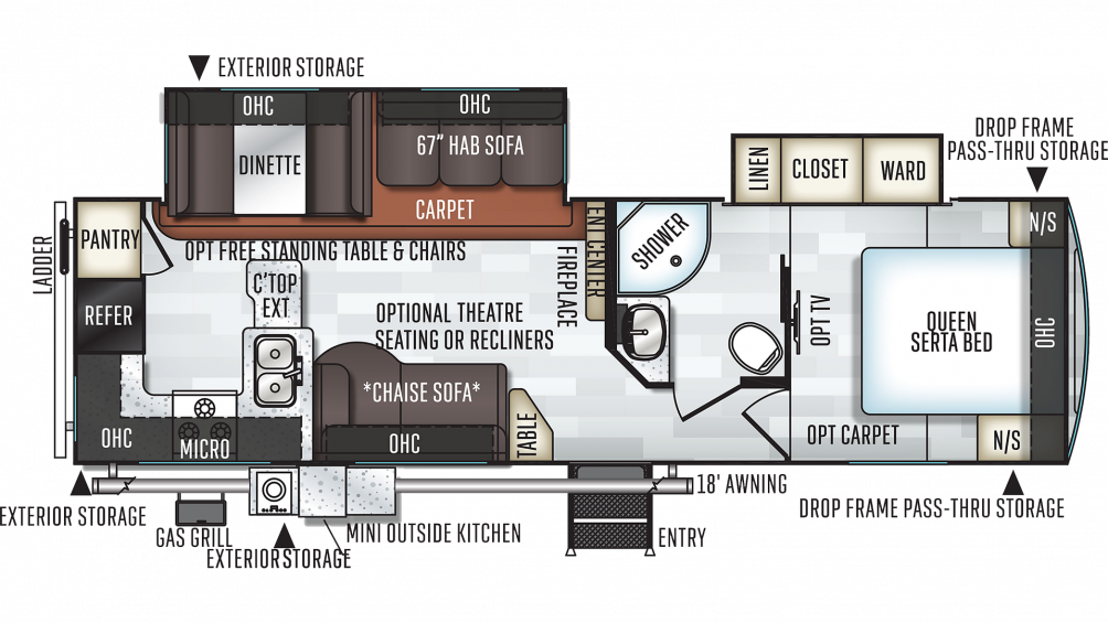 2020 Rockwood Ultra Lite 2902WS Floor Plan Img