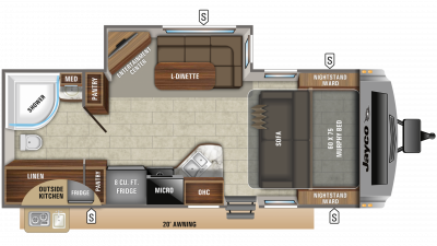2020 White Hawk 23MRB Floor Plan Img