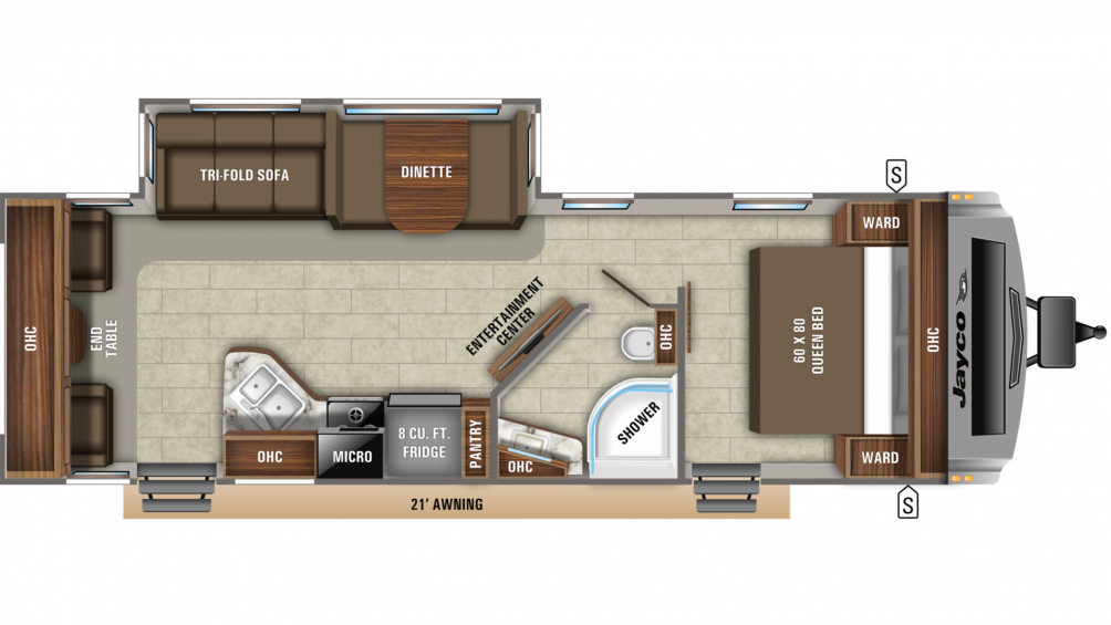2020 White Hawk 28RL Floor Plan Img