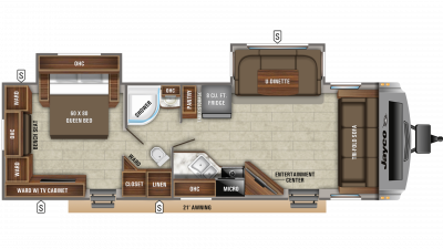 2020 White Hawk 29FLS Floor Plan Img
