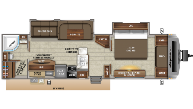2020 White Hawk 32KBS Floor Plan