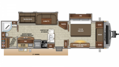 2020 White Hawk 32KBS Floor Plan Img