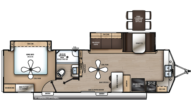 2019 Catalina Destination 33FKDS Floor Plan