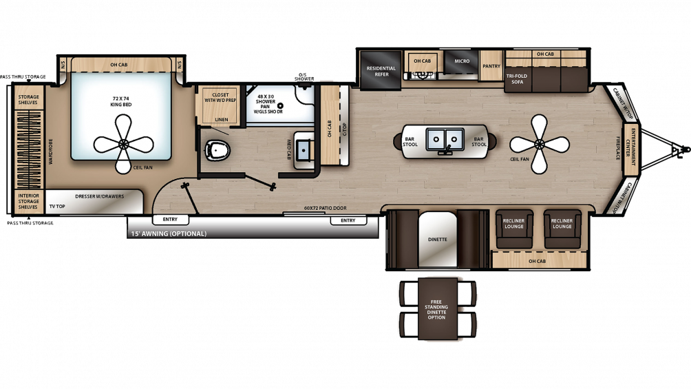 2019 Catalina Destination 39MKTS Floor Plan Img
