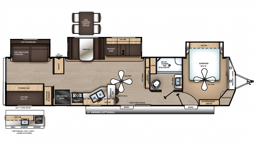 2019 Catalina Destination 40BHTS Floor Plan Img
