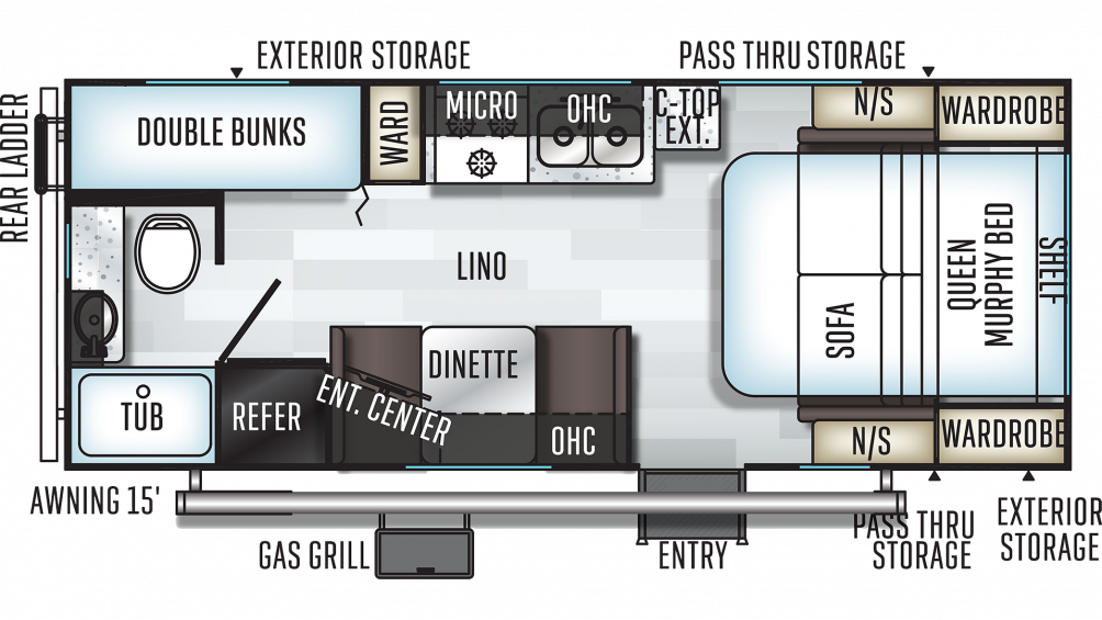 2019 Rockwood Mini Lite 2306 Floor Plan Img