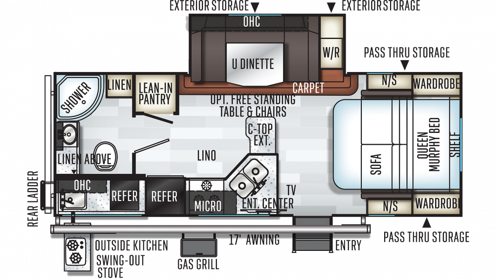 2019 Rockwood Mini Lite 2507S Floor Plan Img