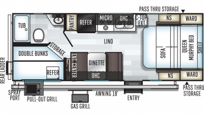 2019 Rockwood Mini Lite 2508 Floor Plan Img