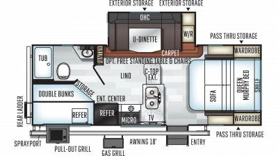2019 Rockwood Mini Lite 2509S Floor Plan Img