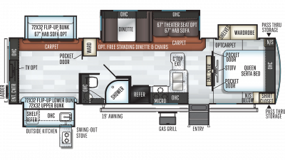 2019 Rockwood Signature Ultra Lite 8326BHS Floor Plan Img