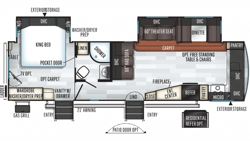 2019 Rockwood Signature Ultra Lite 8335BSS Floor Plan Img