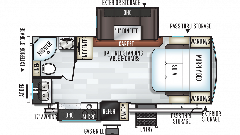 2019 Rockwood Ultra Lite 2304DS Floor Plan Img