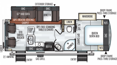 2019 Rockwood Ultra Lite 2604WS Floor Plan Img